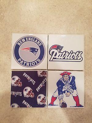 New England Patriots Themed 4x4 Ceramic Coasters Handmade