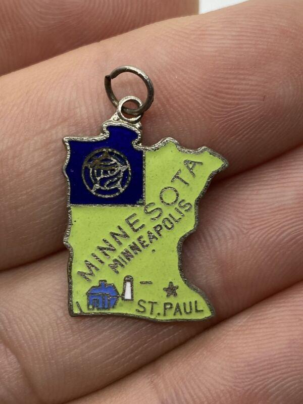 Vintage Minnesota Cloisonne Enamel Souvenir State Map Charm Light Green w/ Flag