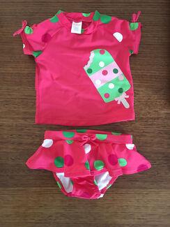 Baby Girl swimming costume, swimwear, rash top (size 18 - 24 months)