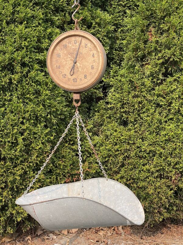 Antique Chatillon Hanging Scale w/ Original Tray ~ Farm Stand, Country Store