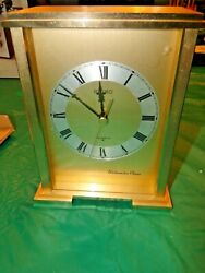 Beautiful Seiko Gold Tune Mantel Clock Westminster Chime Works Great w Chime Vol