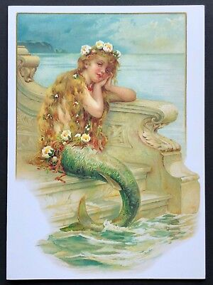 Blank Art Note Card LITTLE MERMAID seaside NOS Pleiades Press #157 floral -