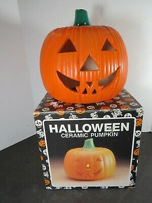 Vintage Ceramic Pumpkin Jack O Lantern Halloween Decoration Thailand B565