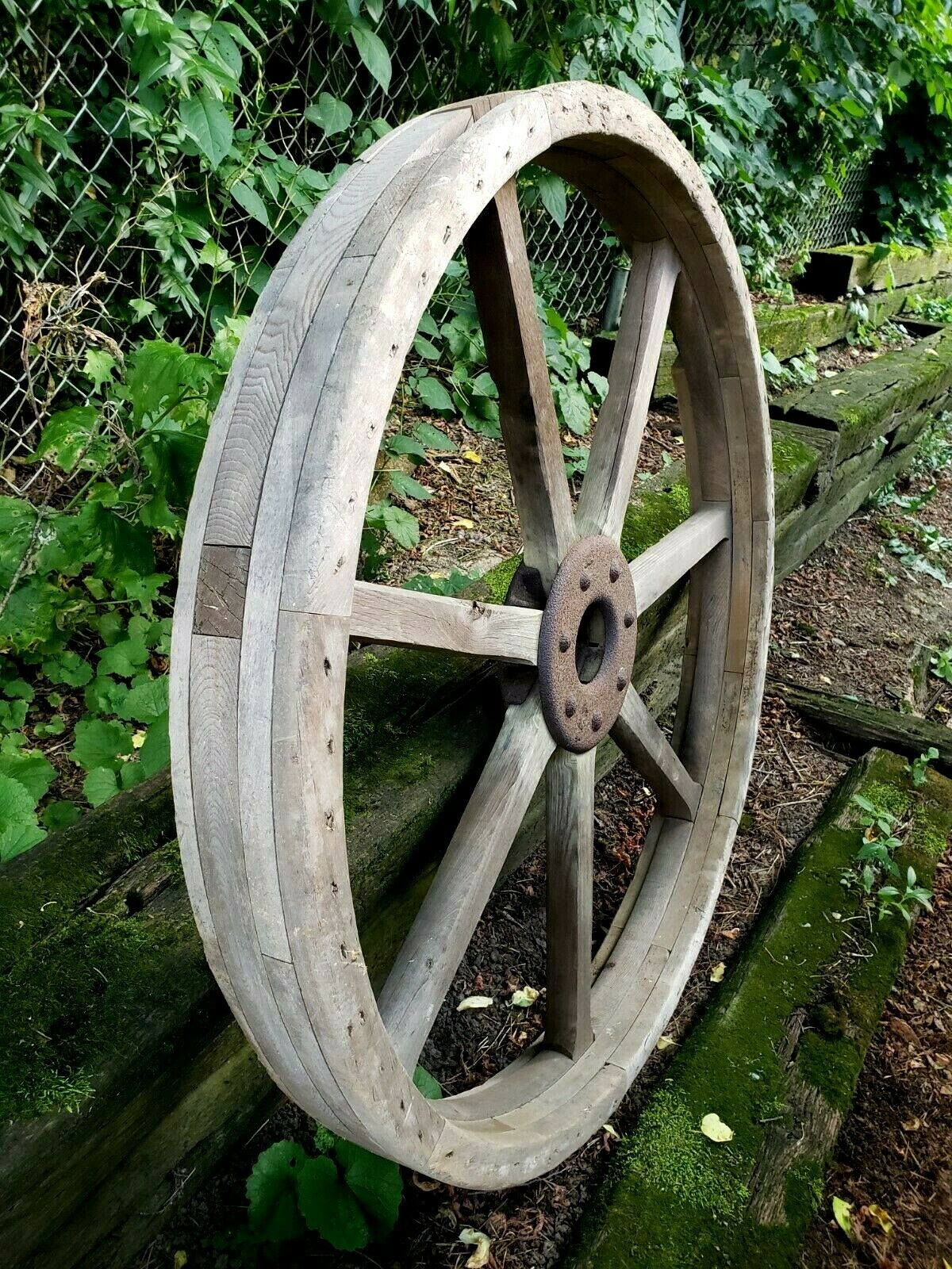 Large Antique Wood Flat Belt Pulley 44 Industrial Steampunk Decor Primitive - $799.98