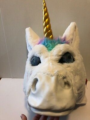 Large Big Head Rainbow Unicorn Mask Halloween Costume gold horn adult furry New](Big Head Costumes Halloween)