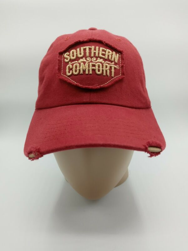 SOUTHERN COMFORT WHISKEY Patch Distressed Truckers Maroon Hat Baseball Cap