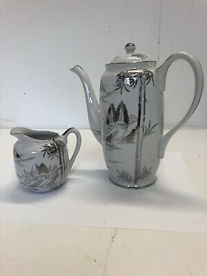 Kutani Japan Teapot And Milk Jug (teapot Has Broken Spout)