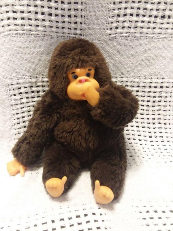 "Vintage 10"" GILROY BROWN Thumb & TOE Sucking Gorilla Stuffed Animal Toy"