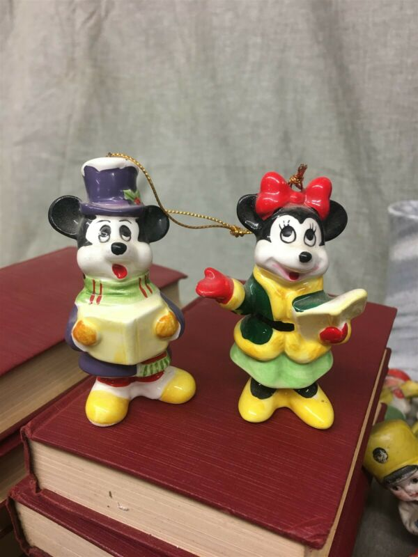 Walt Disney Productions Mickey Mouse & Minnie Mouse Christmas Ornaments Japan