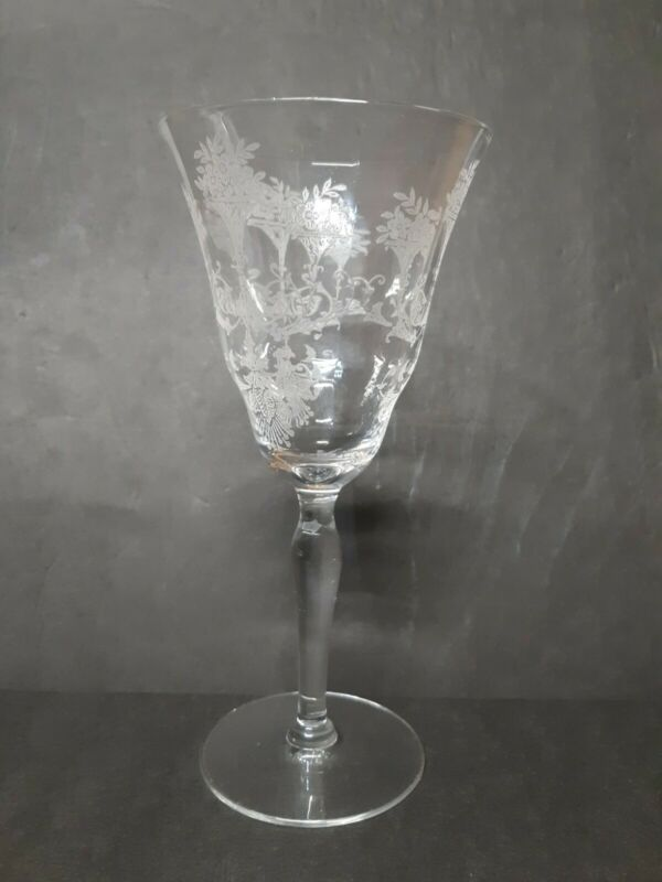 Clear Satin Cut Crystal Wine Goblet Floral Dots And Arches Glass