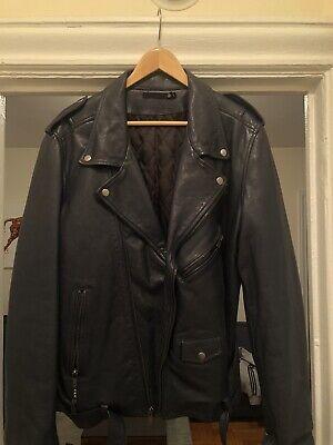BLK dnm Men's Biker leather jacket Size XL Rare Navy Blue