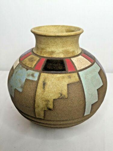 Sergio Naduville Studio Pottery Signed Raku Vase Southwest Geometric Designs