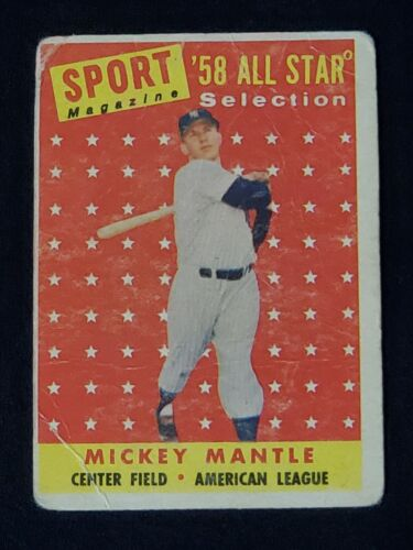L K 1958 TOPPS MICKEY MANTLE 487 ALL-STAR YANKEES GREAT FIND WOW  - $11.80