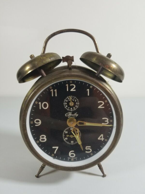 Vtg BRADLEY Wind Up Alarm Clock Brass Double Bell WEST GERMANY WORKS TESTED