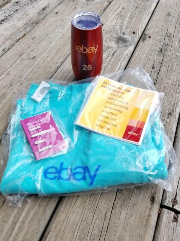 eBay 25th ANNIVERSARY SELLERBRATION SET SWAG-eBay SHIRT LARGE, TUMBLER, PINS-NEW