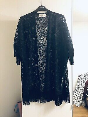 Womens Abercrombie And Fitch Black Lace Fringe Kimono