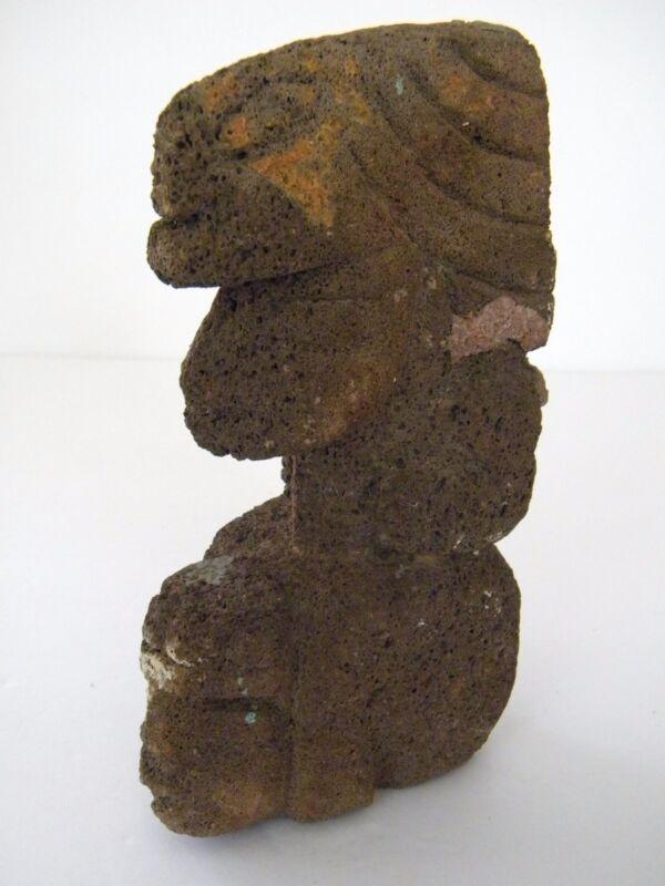 Rare Ancient Primitive Aztec Mexican Tezontle Stone Statue Artifact Totem
