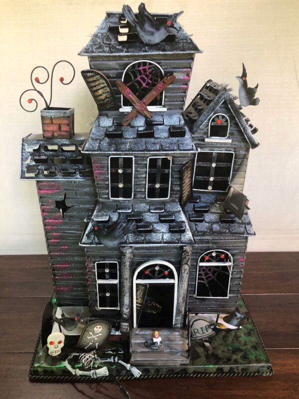 """EXTRA LARGE RARE TIN METAL SPOOKY HAUNTED HOUSE SKELETON USES CANDLE  19.5"""" Tall"""