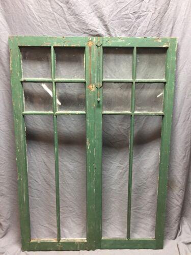 Pair Antique 6 Lite Casement Door Window Cabinet 19x52 Vintage Old 250-18C