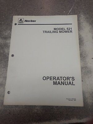 New Idea Model 521 Trailing Mower Operators Manual 987035a