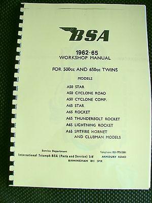 BSA A50 & A65 All Models - Workshop Manual Factory Copy 1962 -1965 00-4113