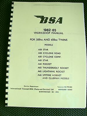 BSA A50 & A65 All Models - Workshop Manual Factory Copy 1962 -1965 00-4113 -BW36