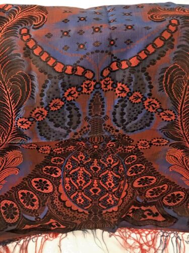 Stunning Meandering Silk Pattern Orange And Navy Shawl Antique Russian 19thC