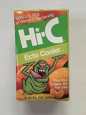 Original Ghostbusters Hi-C Ecto Cooler Juice Box With Slimer 1980's