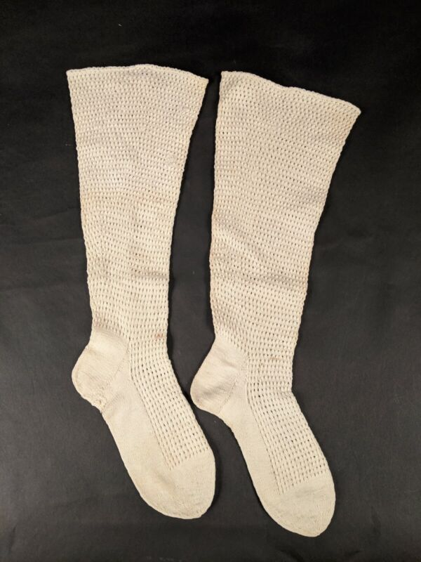 CIVIL WAR ERA MID 19TH CENTURY HAND KNIT STOCKINGS WITH OPEN WORK