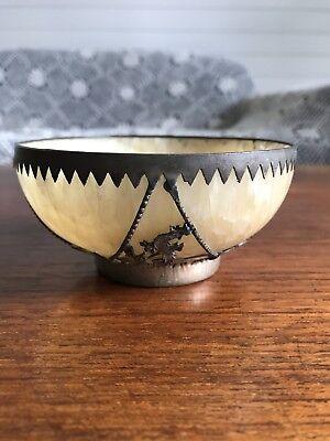 Antique Chinese Hardstone Crystal  Bowl Metal Casing Dragon Stamped To Base