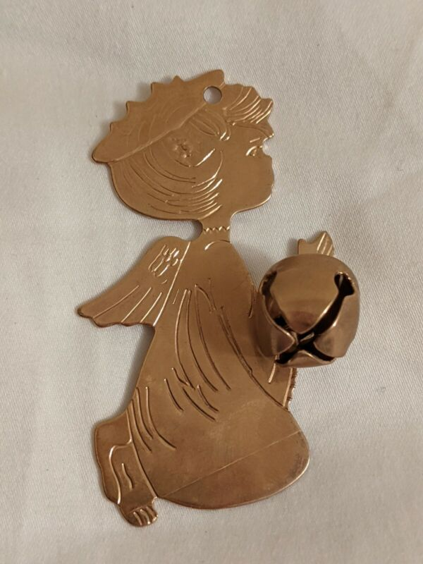 VINTAGE 1977 Gold-Toned Angel With Bell Christmas Flat Tree Ornament