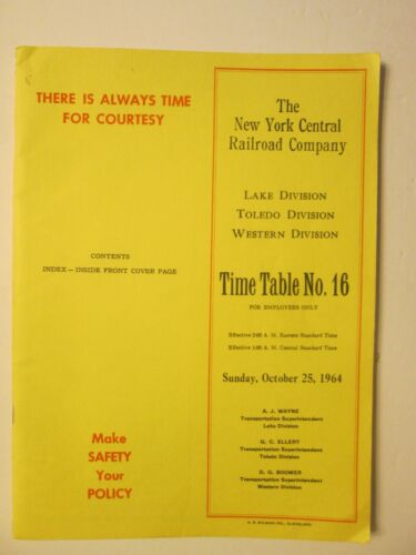 New York Central Time Table # 16 Lake Toledo Western Divisions 1964