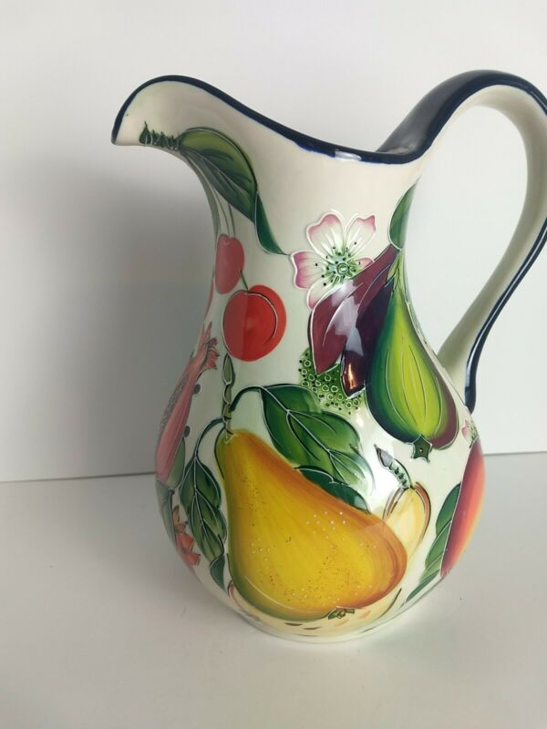 J. MCCALL BLUE SKY CLAYWORKS FRUIT DESIGN PITCHER CREAMER *RARE*