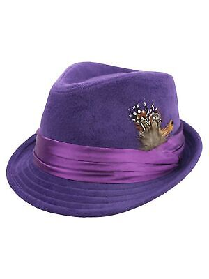 PURPLE WOOL FELT FEDORA HAT WITH FEATHER (Feather Trim Hat)