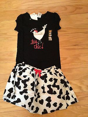 Nwt Gymboree Bonjour Bright Chicken Top Shirt Black White Heart Skirt Outfit 4