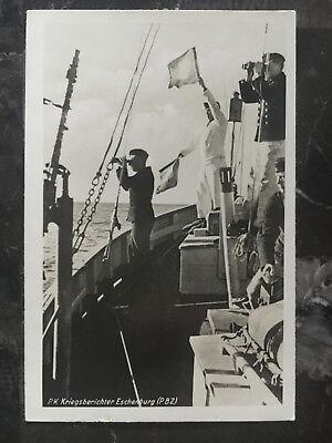 Mint Ww2 Rppc Postcard Germany Kriegsmarine Navy Minesweeper Pbz