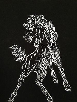 Mustang Mascot (Rhinestone MUSTANG Mascot Black Stretch Short Sleeve T-Shirt Adult Small BLING)