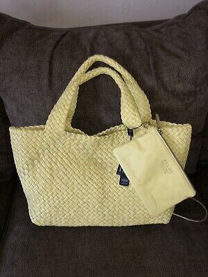 FALOR WOVEN LEATHER LARGE HANDBAG  YELLOW  F7349 NWT
