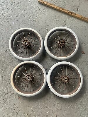 """Vintage Baby Buggy Wheels Set Of 4 Carriage White Rubber Tires Stroller. 9.5"""""""