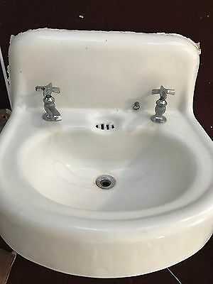 Vintage Antique White Cast Iron Porcelain Bathroom Sink with Faucets 1916, 1930
