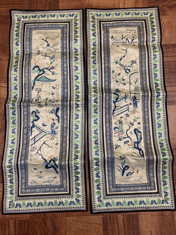 Gorgeous Pair Of Antique Early 1900s Chinese Satin Silk Sleeve Bands