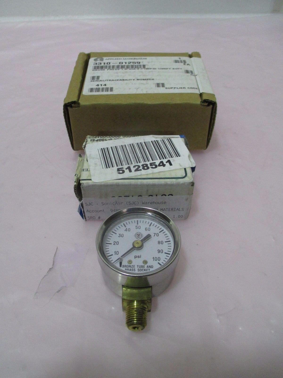 "AMAT 3310-01259 Gauge Press 1.5"" DIA 0-100PSI 1/8NPT BOTT, 421014"