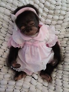 REBORN MONKEY BABY CUTE SLEEPING ROOTED 18