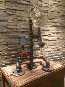 STEAMPUNK VINTAGE PIPE LAMP with GLASS INSULATOR SHADE