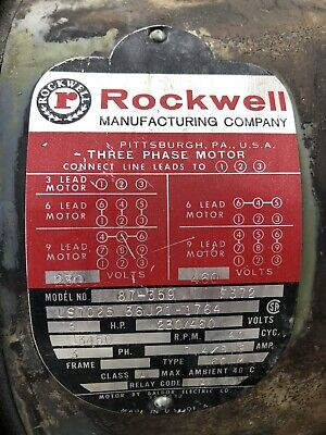 Rockwell Unisaw Electric Table Saw Motor 3 Hp 3450 Rpm 3 Phase 230460 Volt Used