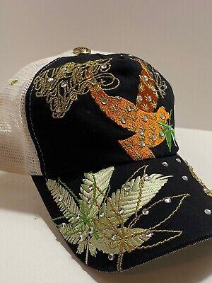 Ed Hardy Trucker Mesh Cap Christian Audigier Rhinestone SnapBack Cannabis Leaf Rhinestone Mesh Back Cap