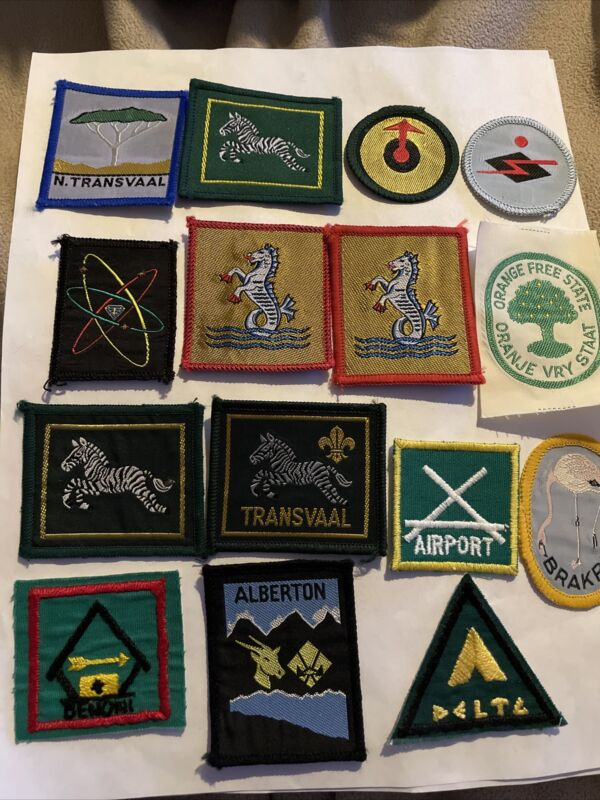 South Africa Lot of 15 Boy Scout Patches  Including Transvaal,Albertson, Brakpan