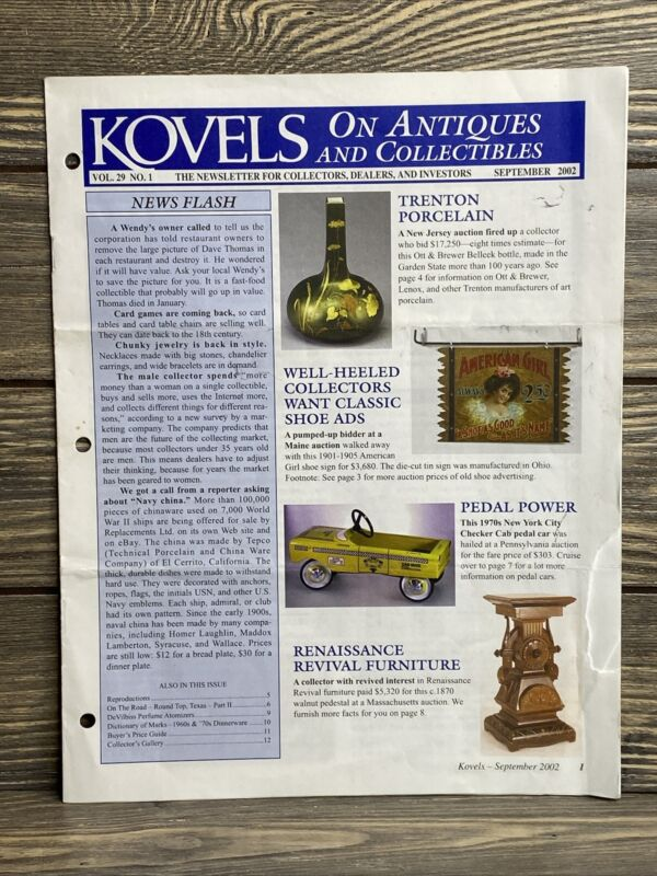 Kovels On Antiques And Collectibles Newsletter Vol 29 No 1 September 2002