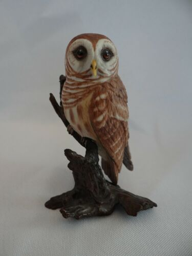 BOEHM PORCELAIN MINIATURE BARRED OWL ON BRONZE PERCH