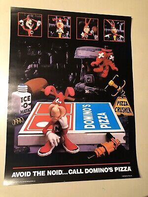 Vintage 1987 Domino's Pizza Noid Poster